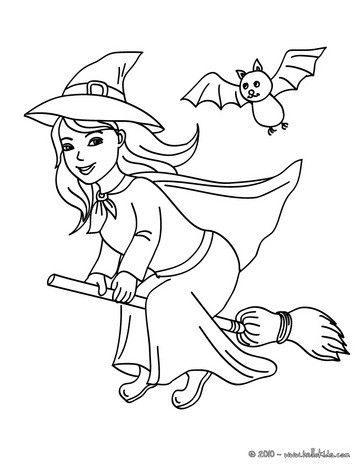 363x470 Witch Coloring Page Happy Witch Halloween Night Flight Coloring