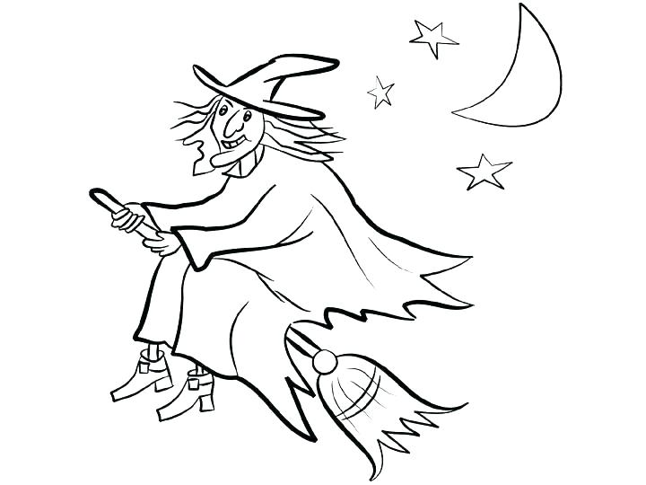720x540 Witch Coloring Page Happy Witch Night Flight Coloring Witch