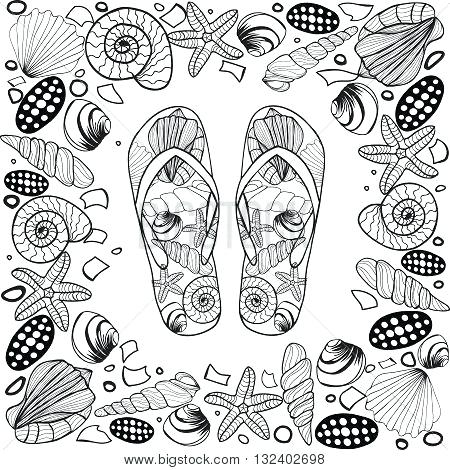 450x470 Flip Flop Coloring Page Hand Drawn Seashell Border Frame With Flip