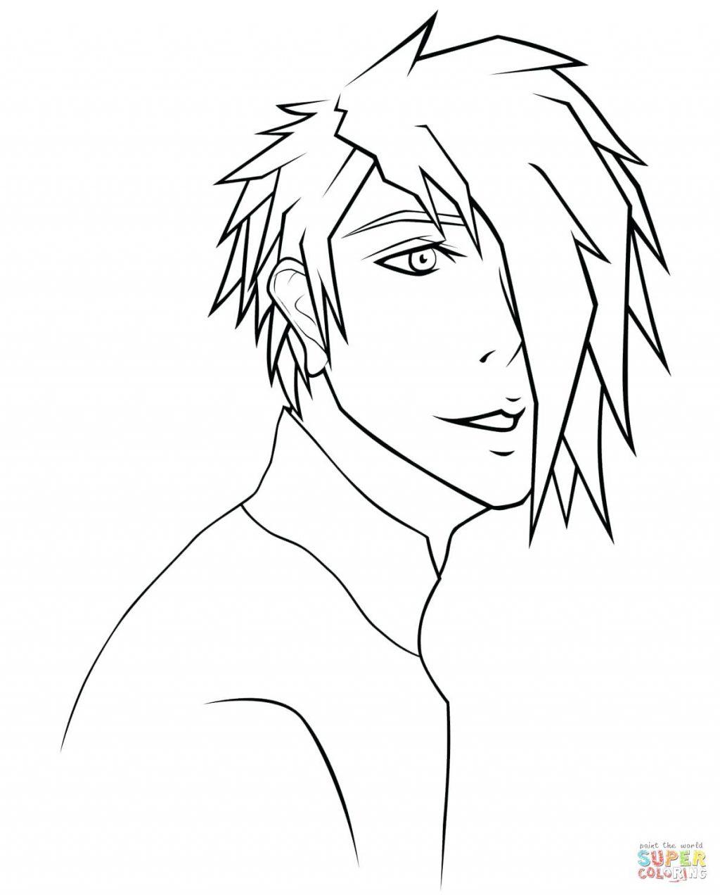 1024x1272 Coloring Page Flip Flop Anime Boy Portrait