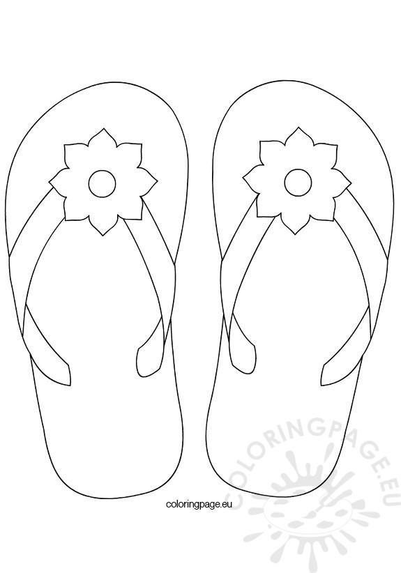 575x822 Flower Flip Flop Coloring Page