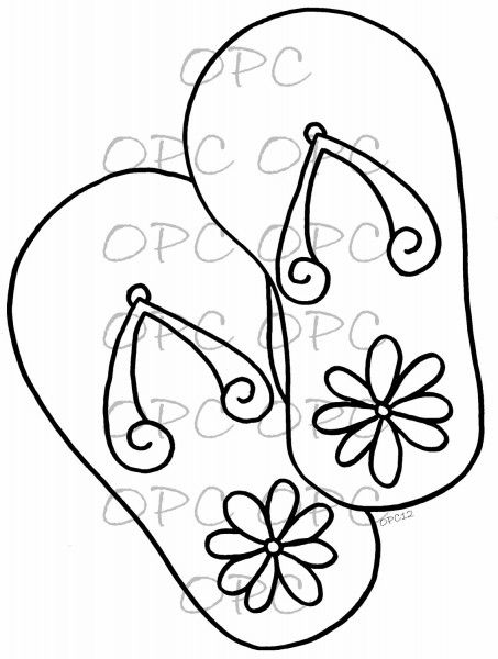 453x600 Simple Flip Flop Coloring Pages