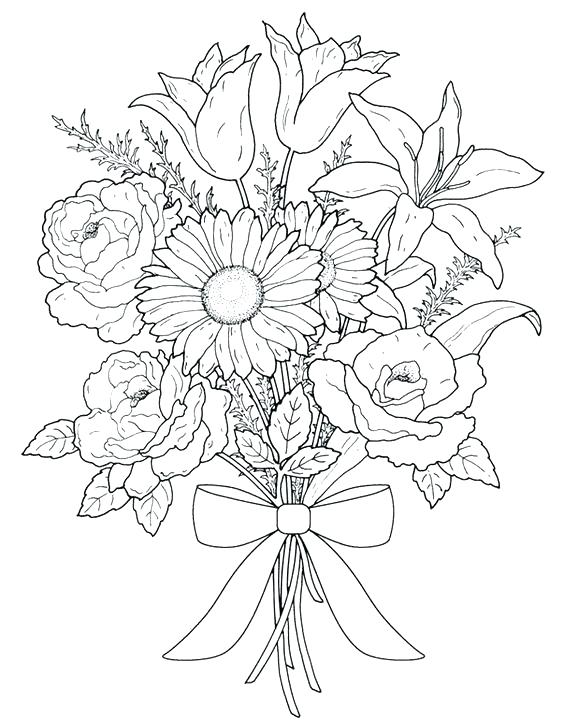 564x720 Advanced Flower Coloring Pages Printable Coloring Pages For Adults