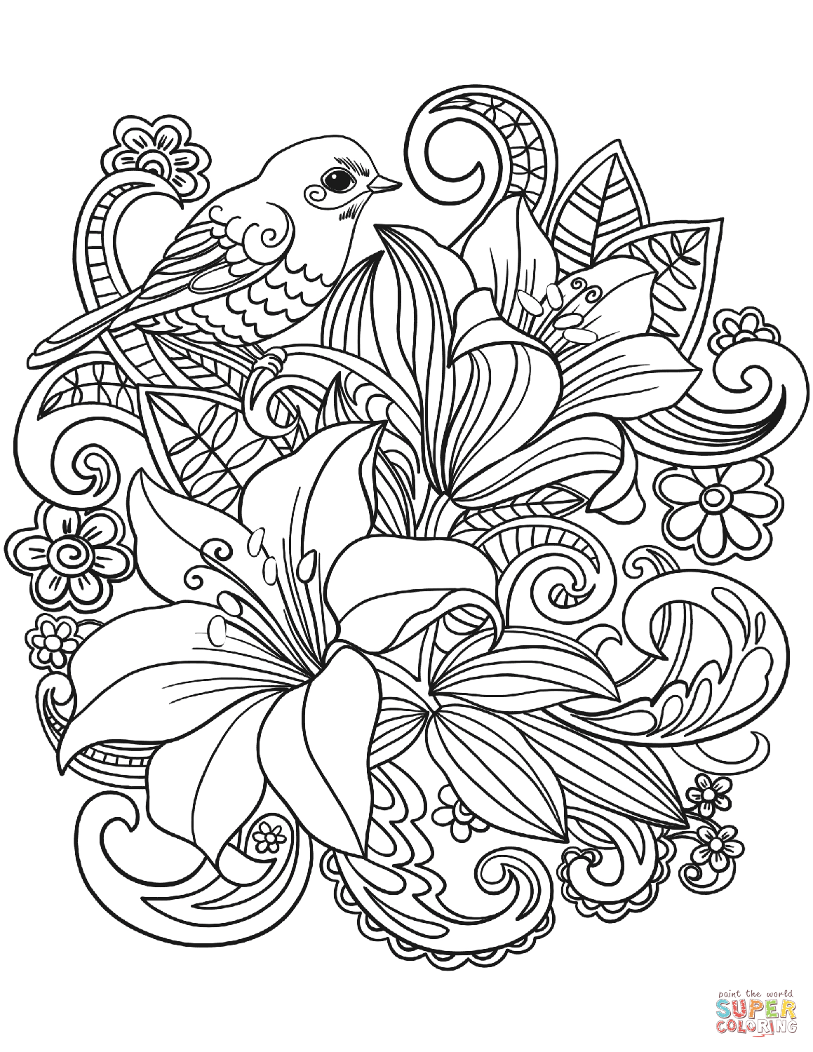 1159x1500 Floral Coloring Pages Skylark And Flowers Page Free Printable