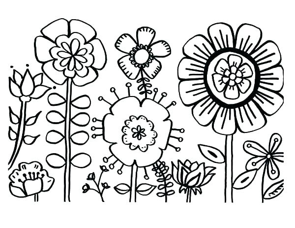 600x463 Cute Flower Coloring Pages Spring Flowers Coloring Pages
