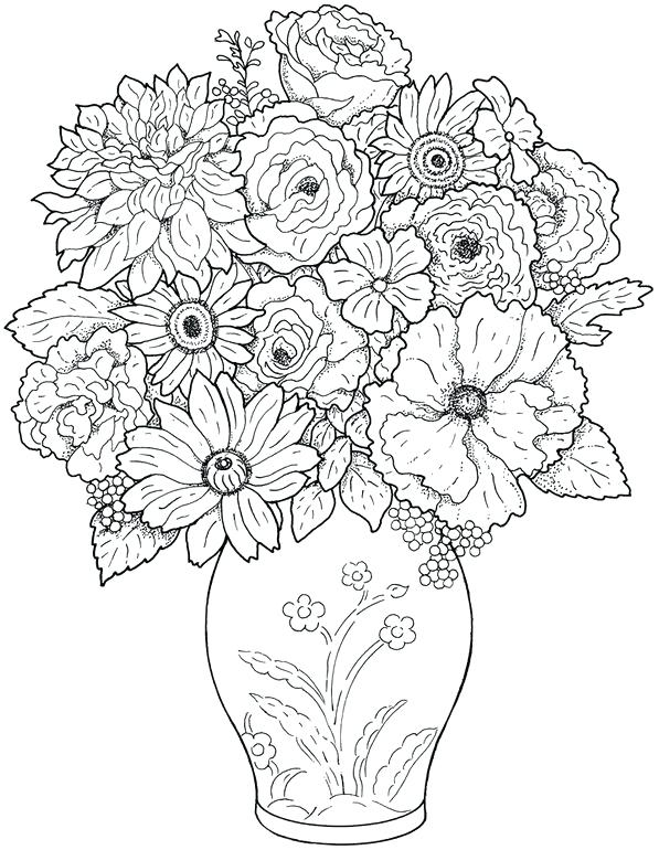 597x770 Floral Coloring Pages Flowers Coloring Pages Free Printable