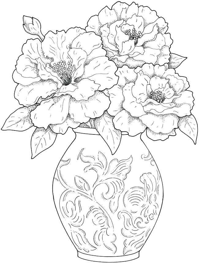 650x860 Flowers Coloring Pages For Adults Flower Coloring Pages For Adults