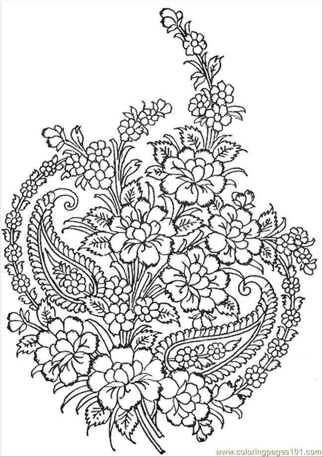 650x920 Free Printable Flower Bouquet Coloring Pages Within Design