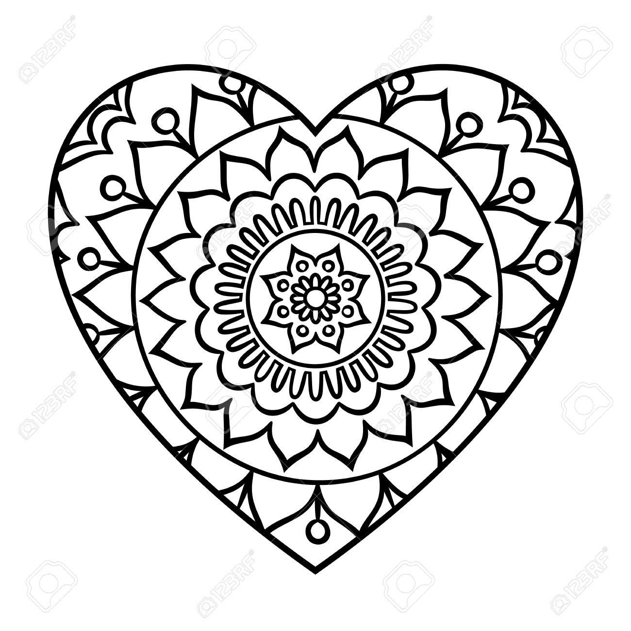 1300x1300 Incredible Doodle Heart Mandala Coloring Page Outline Floral