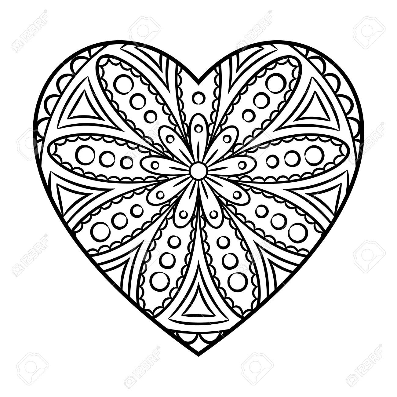 1300x1300 Marvelous Doodle Heart Mandala Coloring Page Outline Floral Design