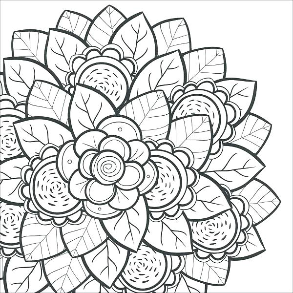 600x600 Easy Printable Flower Coloring Pages