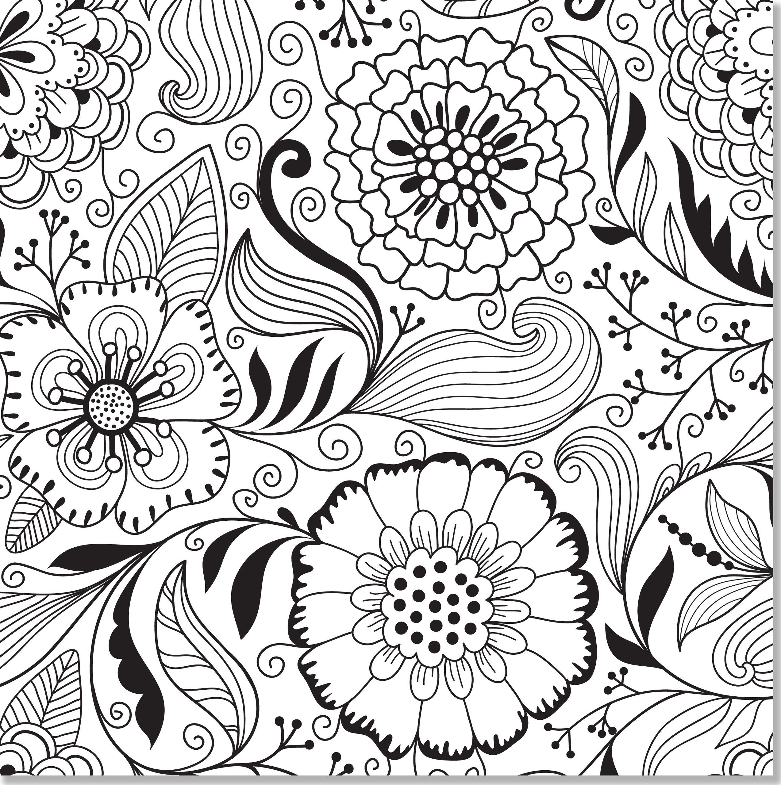 2546x2560 Awesome Adult Coloring Pages Flower Collection Printable