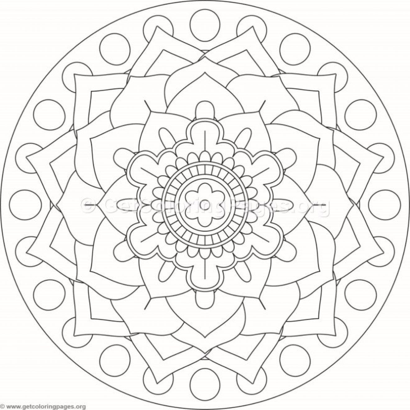1320x1320 Flower Mandala Coloring Pages