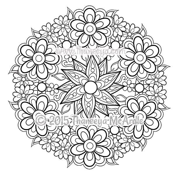 600x600 Flower Mandalas Coloring Book