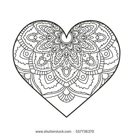 450x470 Heart Mandala Coloring Sheets Printable Coloring Heart Floral