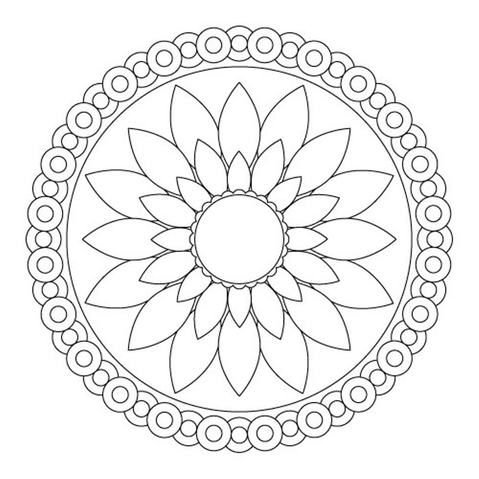945x945 Mandala Coloring Pages Kids Download Simple Flower Mandala
