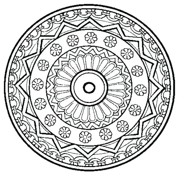 600x581 Trippy Coloring Pages Floral Mandala Coloring Pages Batch Coloring