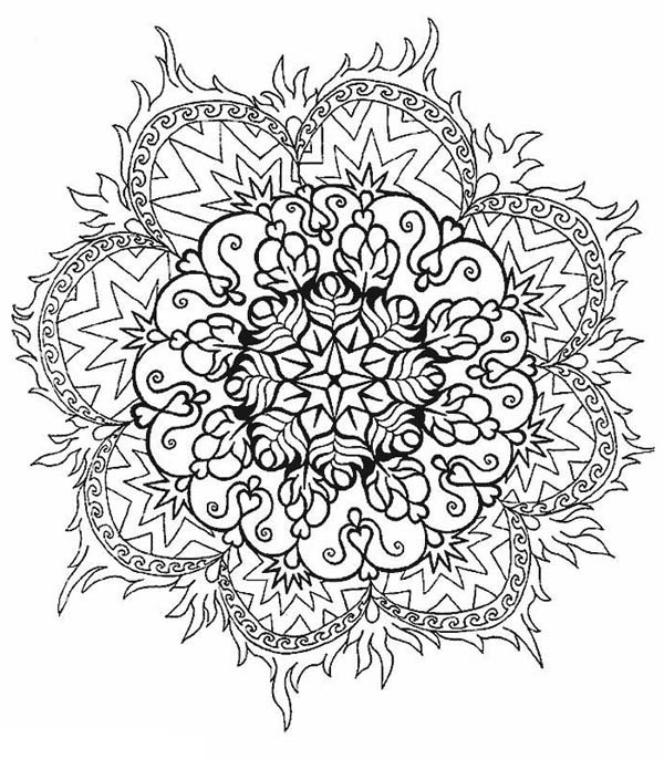 600x686 Floral Mandala Coloring Page Blank
