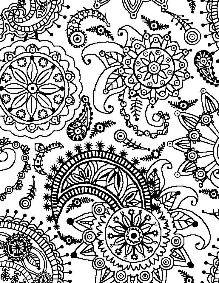 734x950 Coloring Page World Paisley Flower Pattern