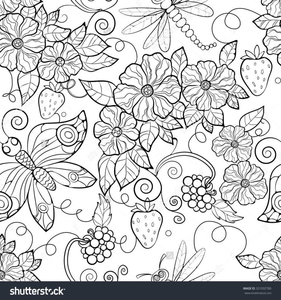 960x1024 Coloring Pages Enchanting Flowers For Adults Flower Pattern