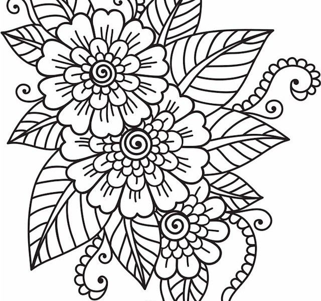 640x600 Flower Pattern Coloring Pages Coloring Pages