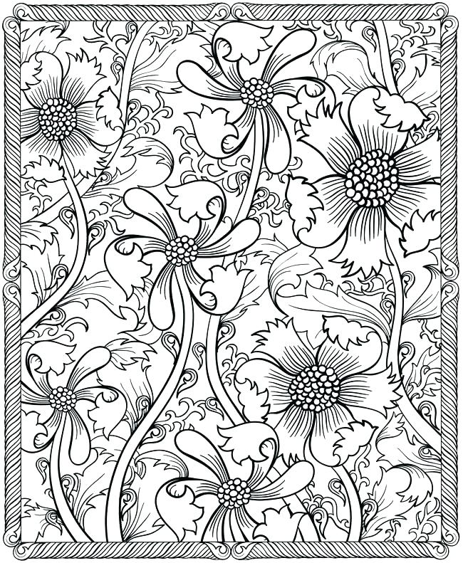 650x791 Floral Pattern Coloring Pages