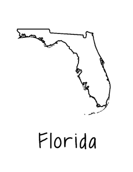 271x350 Florida Map Coloring Page Craft