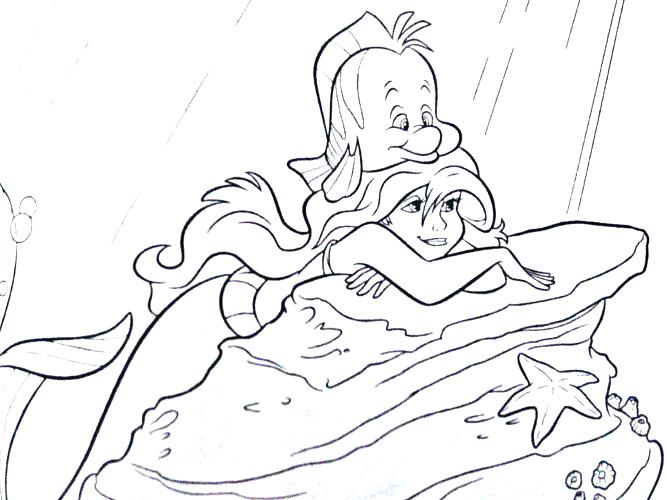 667x500 Flounder And Coloring Pages Ariel And Flounder Colouring Pages