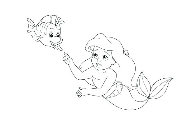 600x413 Ariel And Flounder Colouring Pages Baby Disney Princess Coloring