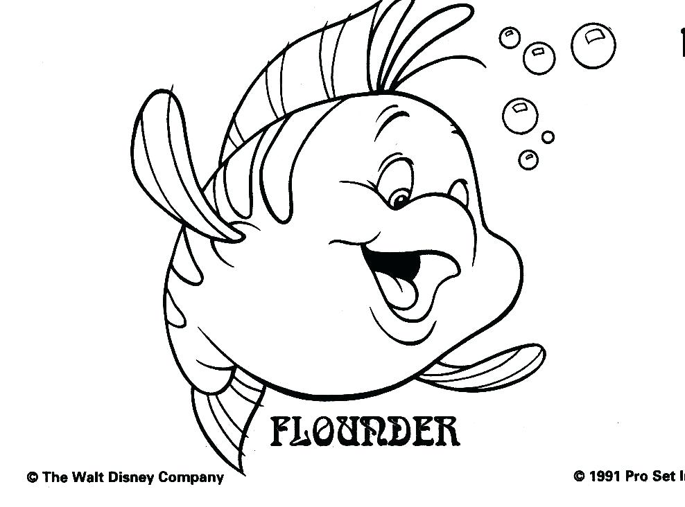 988x732 Disney Little Mermaid Coloring Pages Flounder Coloring Pages