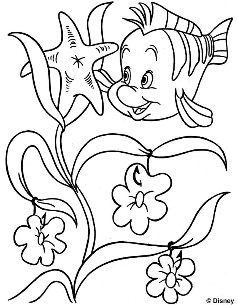 810x1039 Flounder Colouring Page The Little Mermaid Little Princess