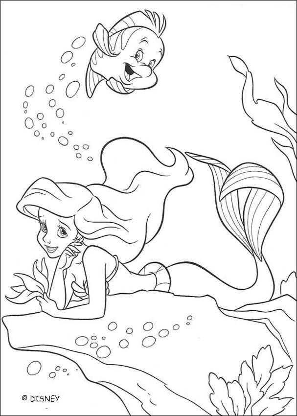 607x850 Little Mermaid And Flounder Coloring Pages Printable The Ariel