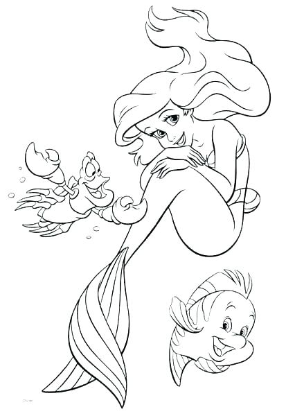 439x600 Ariel And Flounder Coloring Pages