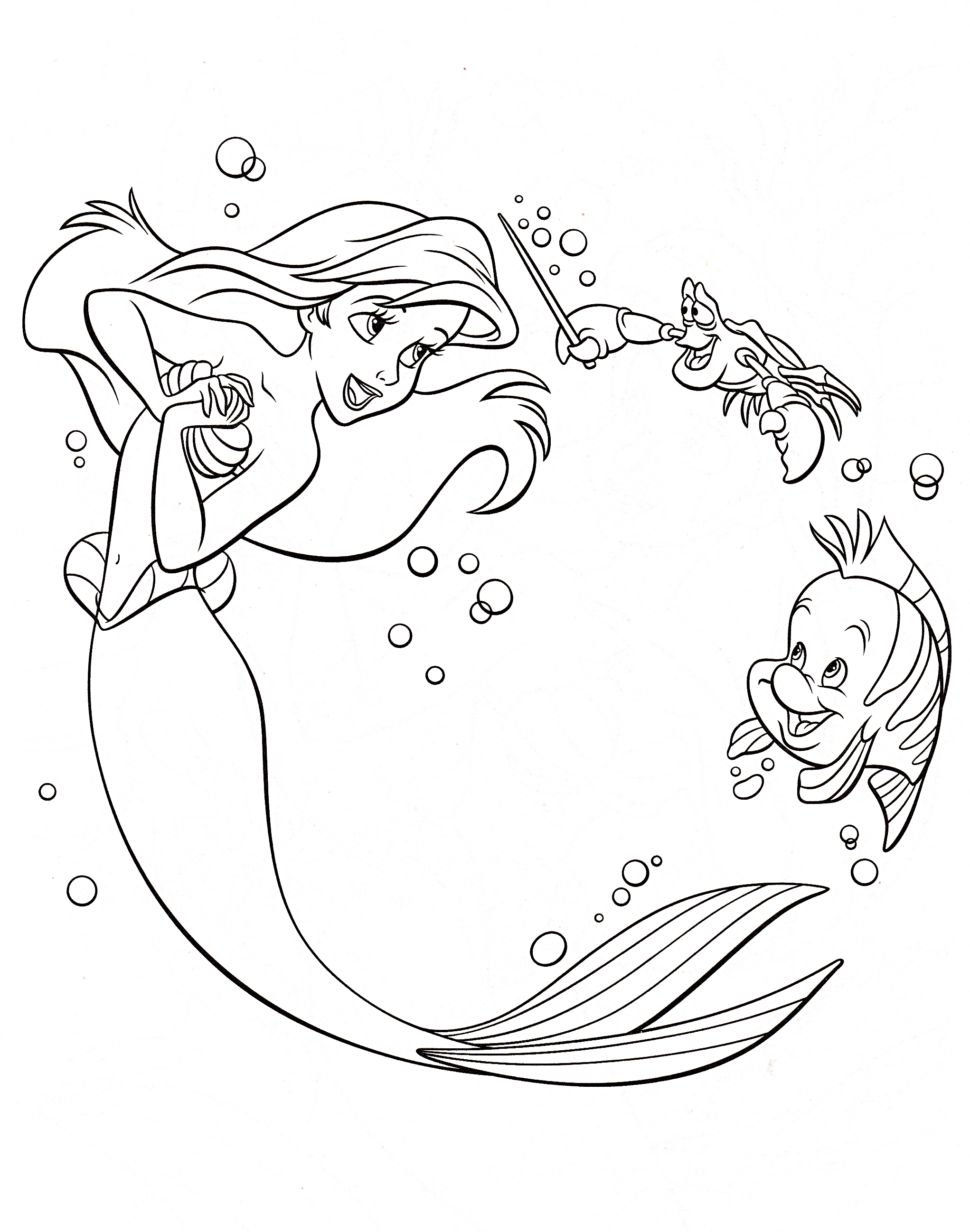 2043x2596 Best Of Little Mermaid And Flounder Coloring Pages