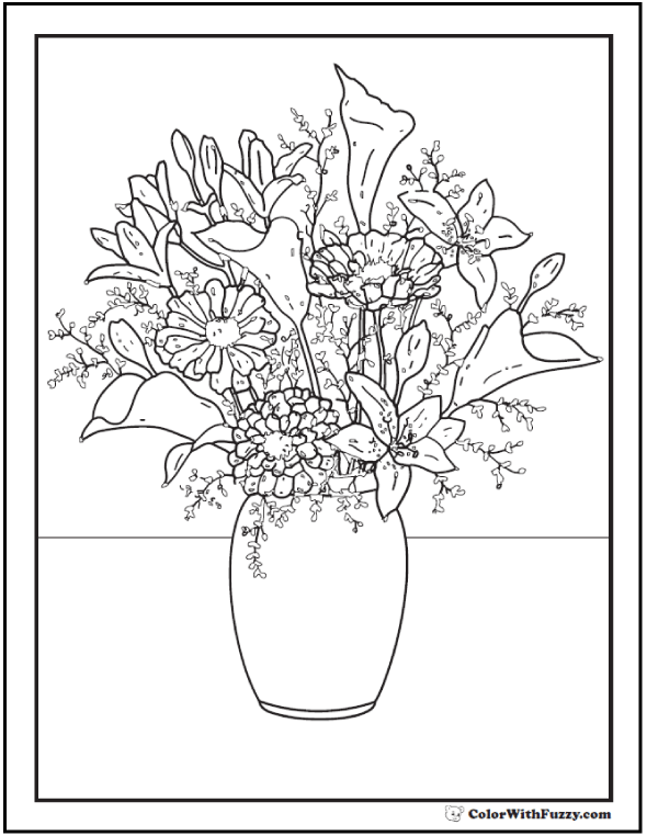 Flower Arrangement Coloring Pages