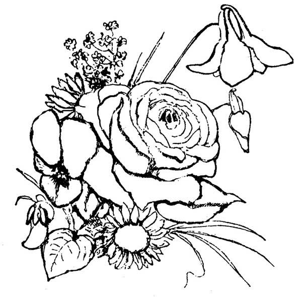 600x590 Flower Arrangement Coloring Page