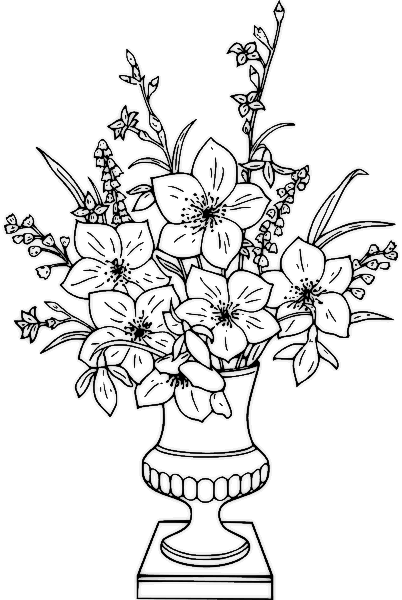 402x600 Flower Arrangement Coloring Pages Flower Coloring Pages