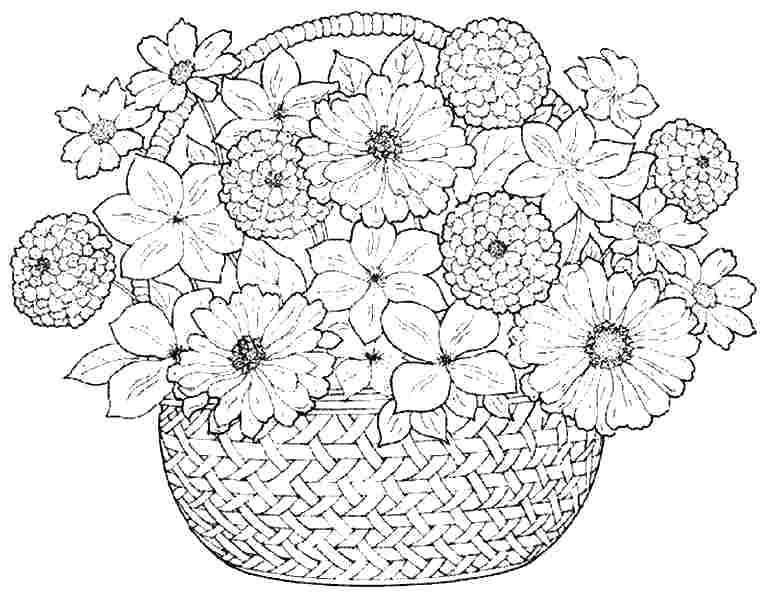 767x600 Flower Bouquet Coloring Pages Flower Vase Coloring Page Flower
