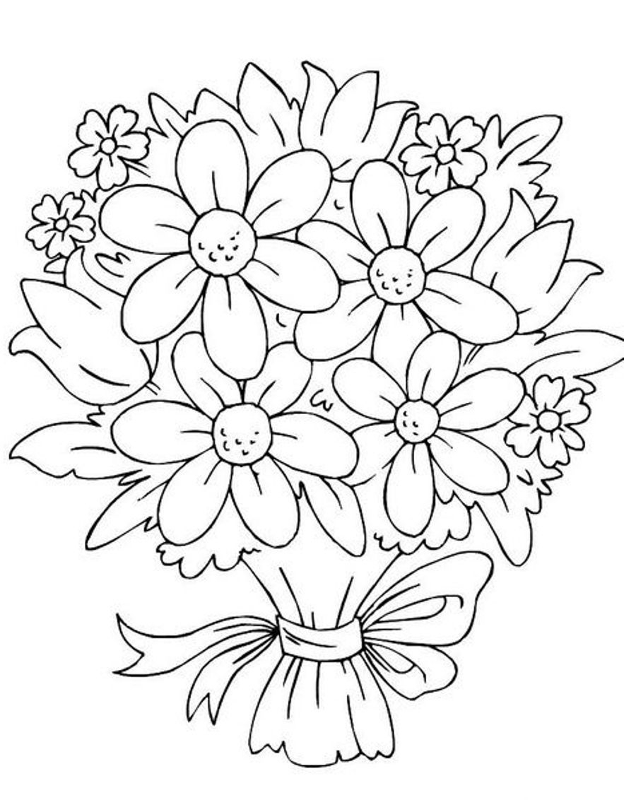 883x1132 Flower Bouquets Coloring Page Wedding Bouquet Coloring Pages