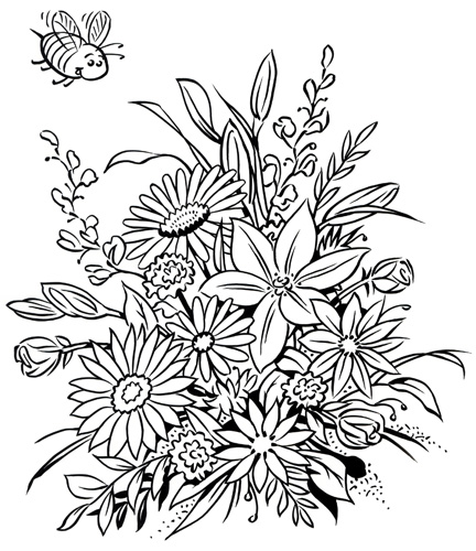 432x500 Flower Coloring Book Pages Bouquets Coloring Book Dover Coloring