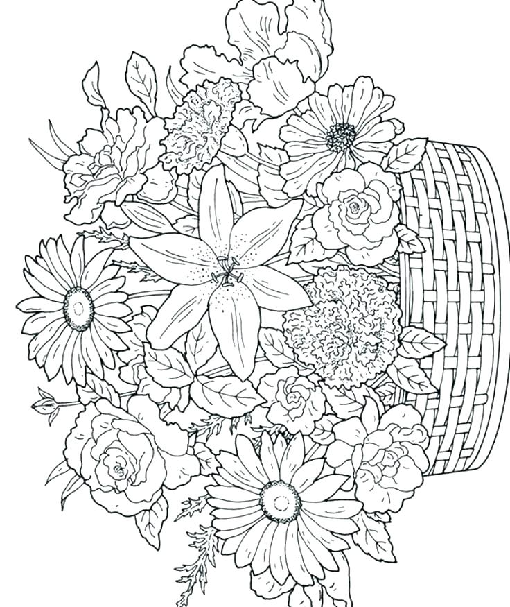 736x875 Flower Coloring Page To Print Flower Bouquets Coloring Pages