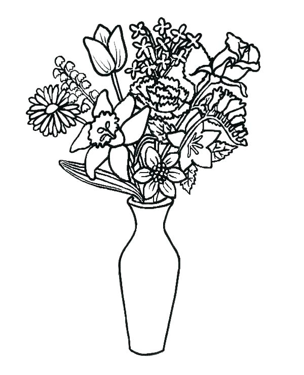 600x739 Flower Vase Coloring Page Flower Bouquets Coloring Pages Flower