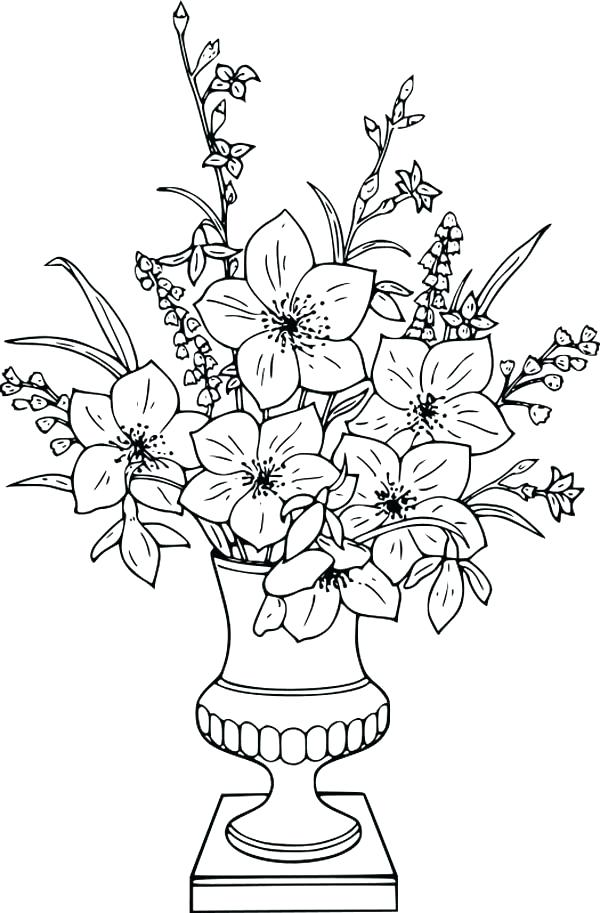 600x913 Lily Flower Coloring Pages