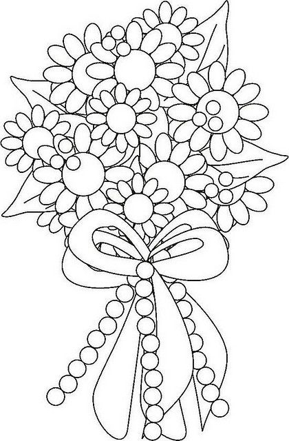 420x640 Bouquet Of Flowers Coloring Pages Flower Bouquet Coloring Page