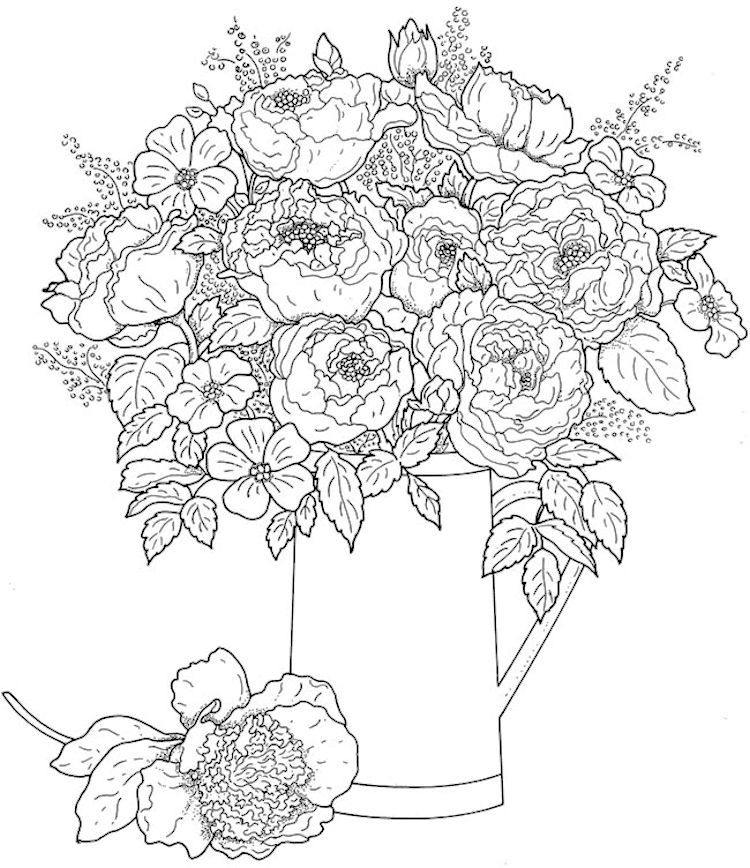 750x868 Creative Haven Beautiful Flower Arrangements Coloring Page