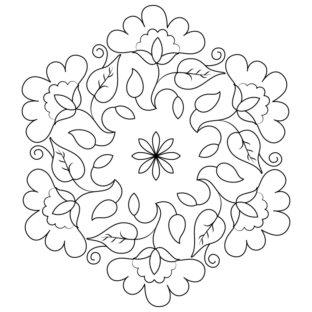 1024x1024 Flower Buds Kolam Coloring Page Pattern