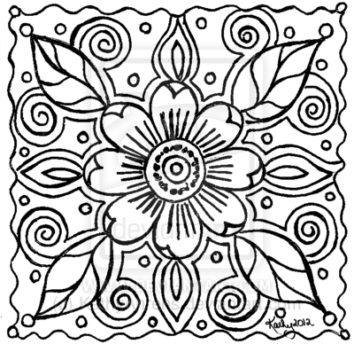400x388 Abstract Art Coloring Pages Abstract Flower Doodle Lineart
