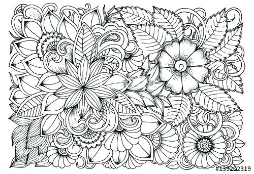 500x344 Relaxing Coloring Pages Black And White Flower Pattern