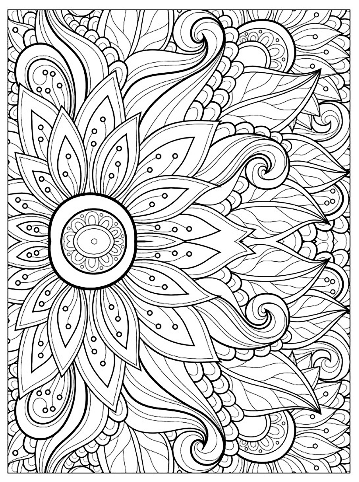 1180x1584 Awesome Adult Coloring Pages Flower Collection Printable