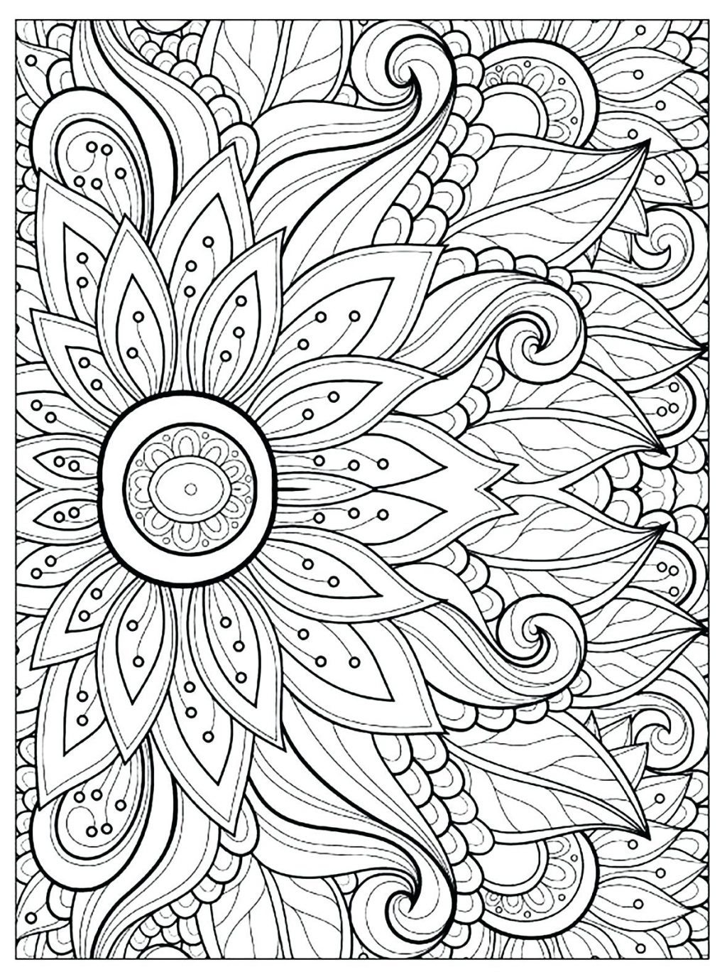 1024x1375 Coloring Page Coloring Page Flower Adult Pages Parts Coloring